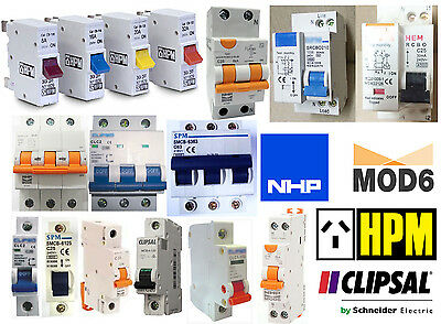 CIRCUIT BREAKER MCB RCBO RCD 1 2 3 WAY POLE DINRAIL for SWITCH BOARD ENCLOSURE