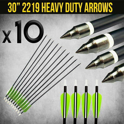 "10X 30"" Extra Heavy Duty Aluminium Arrows For Compound And Recurve Bow Archery"