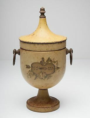 A Vintage Painted Toleware Twin Handled Chestnut Urn/Vase