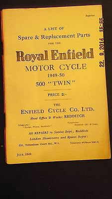 Royal Enfield 1949-50  500 Twin Spares List [3-86]