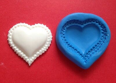 FRILLY HEART Mould For Cupcakes Fondant Sugarcraft Cake Topper  Fimo