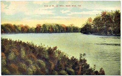 PC:  View Of St Joe River, South Bend, Ind (Ca 1910)