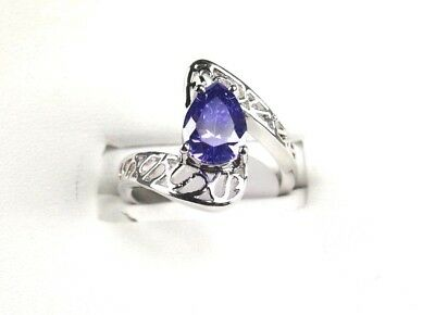 R#5061 simulated Purple Amethyst White Topaz Gemstone ladies Silver Ring Size 8