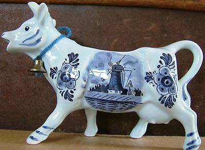 Delft Blue Cow Ceramic Creamer Metal Bell Windmill Flowers Vintage 1950s