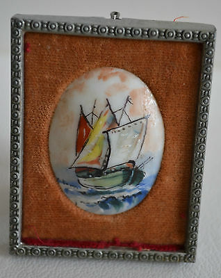 Vintage Framed Miniature Hand-painted Porcelain England
