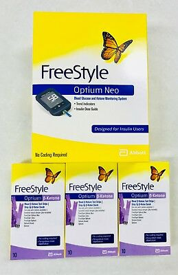 Abbott Optium Neo Freestyle Monitor + 3 Boxes Ketone Strips