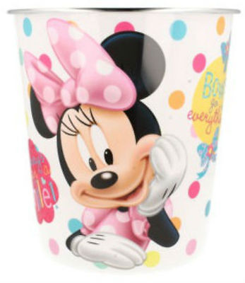 Childrens Girls Minnie Mouse Plastic White Pink Bins Home Bedroom Gift 298027