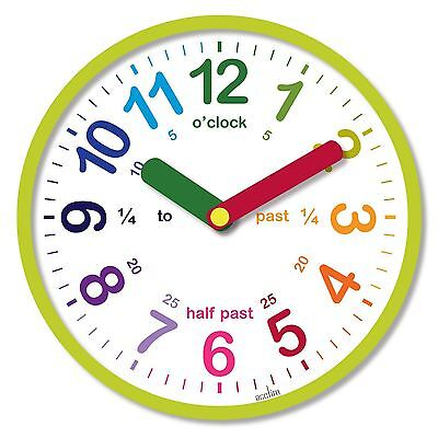 Acctim Green Lulu Round Childrens Time Teaching Learning Wall Clock 26cm