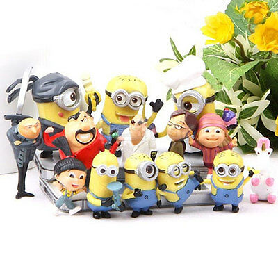 Set of 14 pcs New Cute Despicable me 2 minions Movie Character Figures Doll Toy