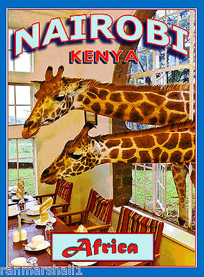 Nairobi Kenya Africa African Giraffe Manor Art Travel Poster Advertisement