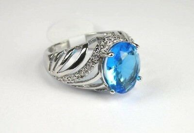 R#5064 simulated Sea Blue & White Topaz Gemstone ladies silver ring size 7.5