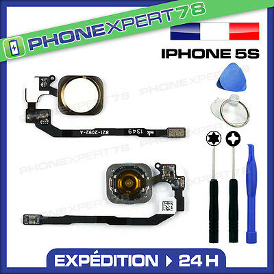 Bouton Home Complet Avec Nappe Pour Iphone 5S Blanc Gold + Kit Outils