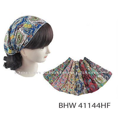 Lot Of 12 Paisley print Women 3 in1 W/ Elastic Back HEADBAND Hair Band Head Wrap