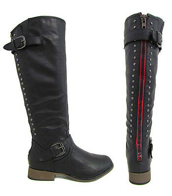 New Womens Black Red Zipper Studded Cowboy Riding Knee High Plaid Lining Boots