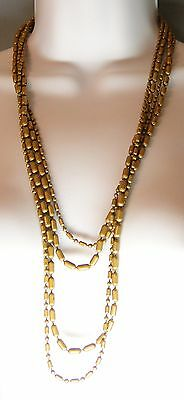 """ART DECO Brass Links Necklace Very long 27"""" Two Strands Large + Small"""