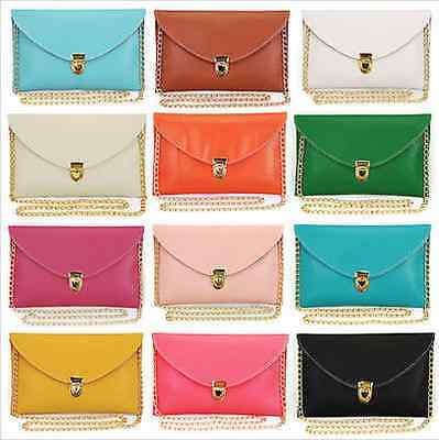 New Candy Colours Envelope Clutch Bag Shoulder Gold Chain Pink Brown Black White