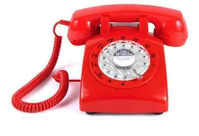 Red Rotary Retro Cord Telephone Phone Vintage 1960's Office Work Desk Classic