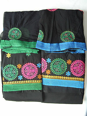 1 X Unstitched New Indian Black Suit Salwar Pajami Salwar Dupatta Kameez