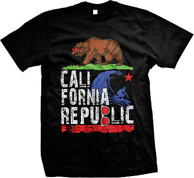 California Republic Bear Sunglasses Surfing Rap Hip-Hop Urban Swag Mens T-shirt