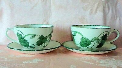 Poole Pottery GREEN LEAF 4 Pcs Breakfast Cups Saucers Ivy Grape Hand Painted