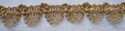 Vintage Gold Metallic Lace Trim Scalloped Nice Quality French