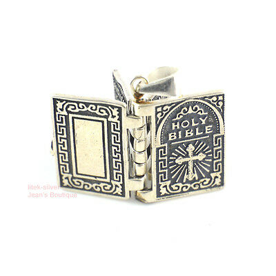 Sterling Silver Vintage Retro Religious Holy Bible Pendant Charm 15x12mm A2061