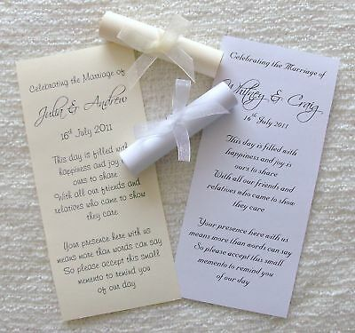 50 Personalised Wedding Favour Favor Favor Scrolls Invitation with Ribbon