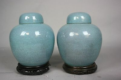 19th-20thC. Pair Chinese JUNYAO Covered Vases