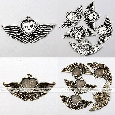 5x Tibetan Silver Heart Angel Wing Photo Picture Frame Charms Pendant Findings