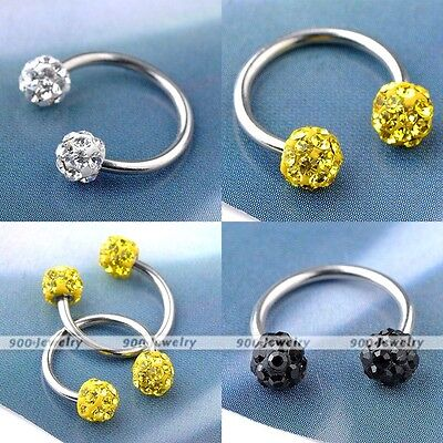 1x Stainless Steel CZ Czech Crystal Nose Stud Ring Hoop Nostril Body Piercing