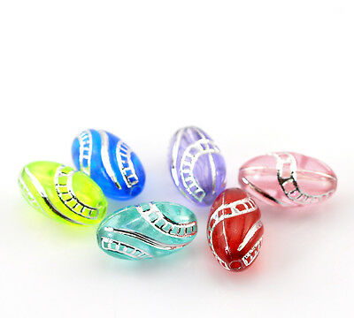 """400PCs Mixed Oval Film Pattern Acrylic Spacer Beads 13x7mm(4/8""""x2/8"""")"""