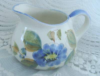 Vintage Hand Painted Blue Floral Pitcher Made in Portugal