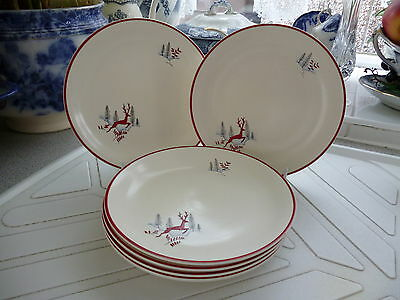Crown Devon Fieldings Stockholm Lunch/Dinner Plates x 6  23cms/9 inches