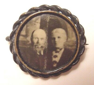 Mourning Brooch Pin-Photo Insert Man Woman-Pinback-Early