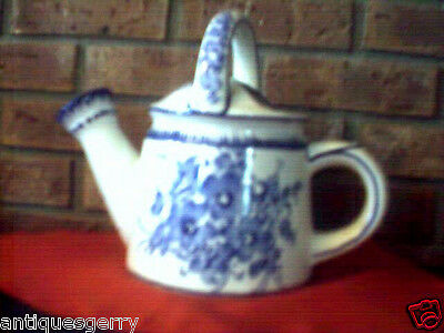 WATERING CAN ANDREA BY SEDAK BLUE/WHITE FLORAL J.WILLFRED PORTUGESE #173 CERAMIC