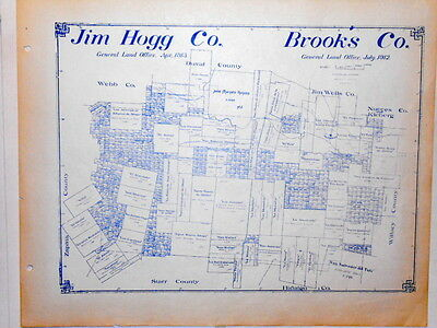 Old Jim Hogg & Brooks County Texas General Land Office Owner Map Hebbronville #2
