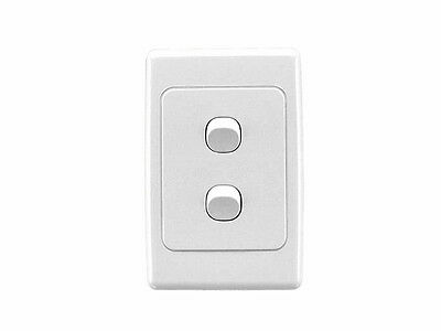 Clipsal 2032VA White 2000 Series Light Switch Two 2 Gang Double Wall Plate Vert