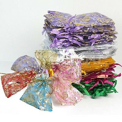100x Organza Jewelry Party Christmas Favor Pouch Wedding Gift Sweet Package Bag