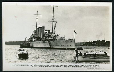 Vintage Defence Series Postcard - H.M.A.S. Canberra, Cruiser Ship - FREE POST