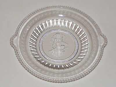 ANTIQUE VICTORIAN ~ VENUS & CUPID CHILD ~ C 1880 PRESSED GLASS BREAD TRAY   Eapg