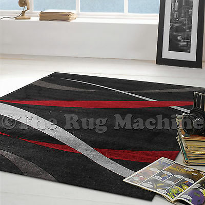 JUNO RED BLACK GREY MODERN SWIRLS TRENDY FLOOR RUG 110x160cm **NEW**