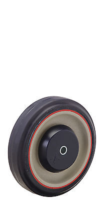 "Shopping Cart Wheel Jarvis Pemco: 5"" x 1-1/4"". Red Stripe Poly on Poly: Bearing."
