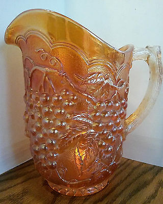 Imperial Carnival Glass Water Pitcher in Marigold Color & Grape Vine Pattern