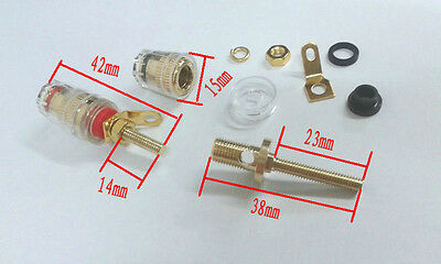 4pcs Copper Crystal Audio Speaker for 4mm Banana plug Long Thread adapter