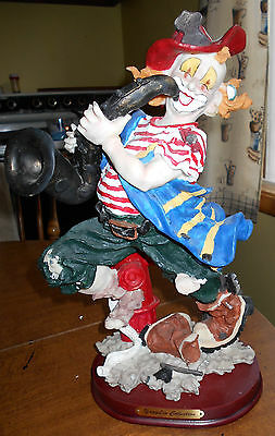 13 1/2 Inch Fireman Clown Statue Playing Trumpet Figurine Yang Lin Collections