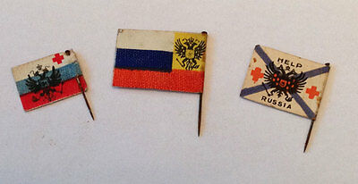 3 x WWI PAPER CHARITY PIN BADGES - HELP RUSSIA FLAG DAYS - c.1916