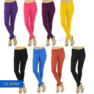 New Women Sexy Skinny Solid Color Stretchy Jeggings Leggings Tight Pants Jeans