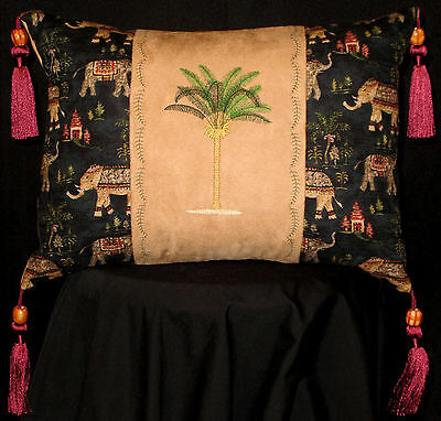 New Embroidered Palm Tree with Elephants and Tassels Accent Pillow 12 x 16 in