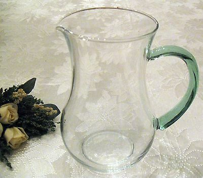 """Vintage Antique HAND BLOWN GLASS PITCHER with Clear Green Glass Handle - 8"""" Tall"""