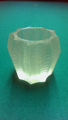 Vintage Lalique French Art Glass Jamaique Frosted Crystal Matchstick Holder